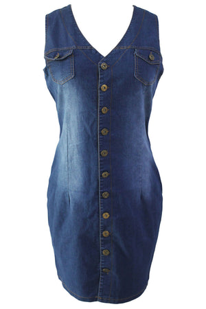 Stylish V Neckline Denim Button Down Sleeveless Her Chic Dress