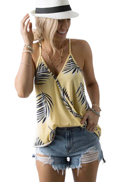 Summer Look Her Fashion Sleeveless Grey Tropical Print Tank Top