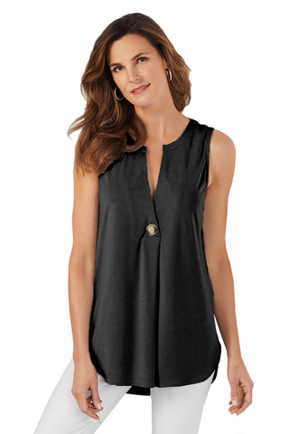 Summer Style Her Fashion Black V Cut Buttoned Tank Top