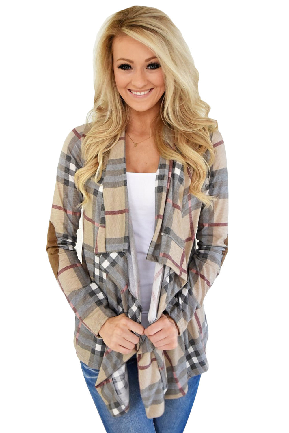 Super Cute Apricot Fall Party Plaid Long Sleeves Cardigan