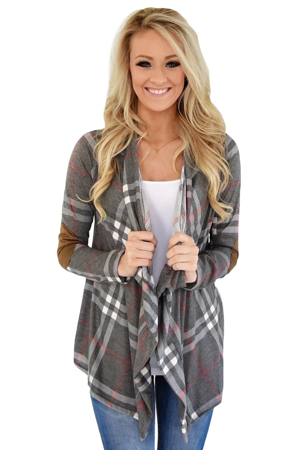 Super Cute Grey Fall Party Plaid Long Sleeves Cardigan