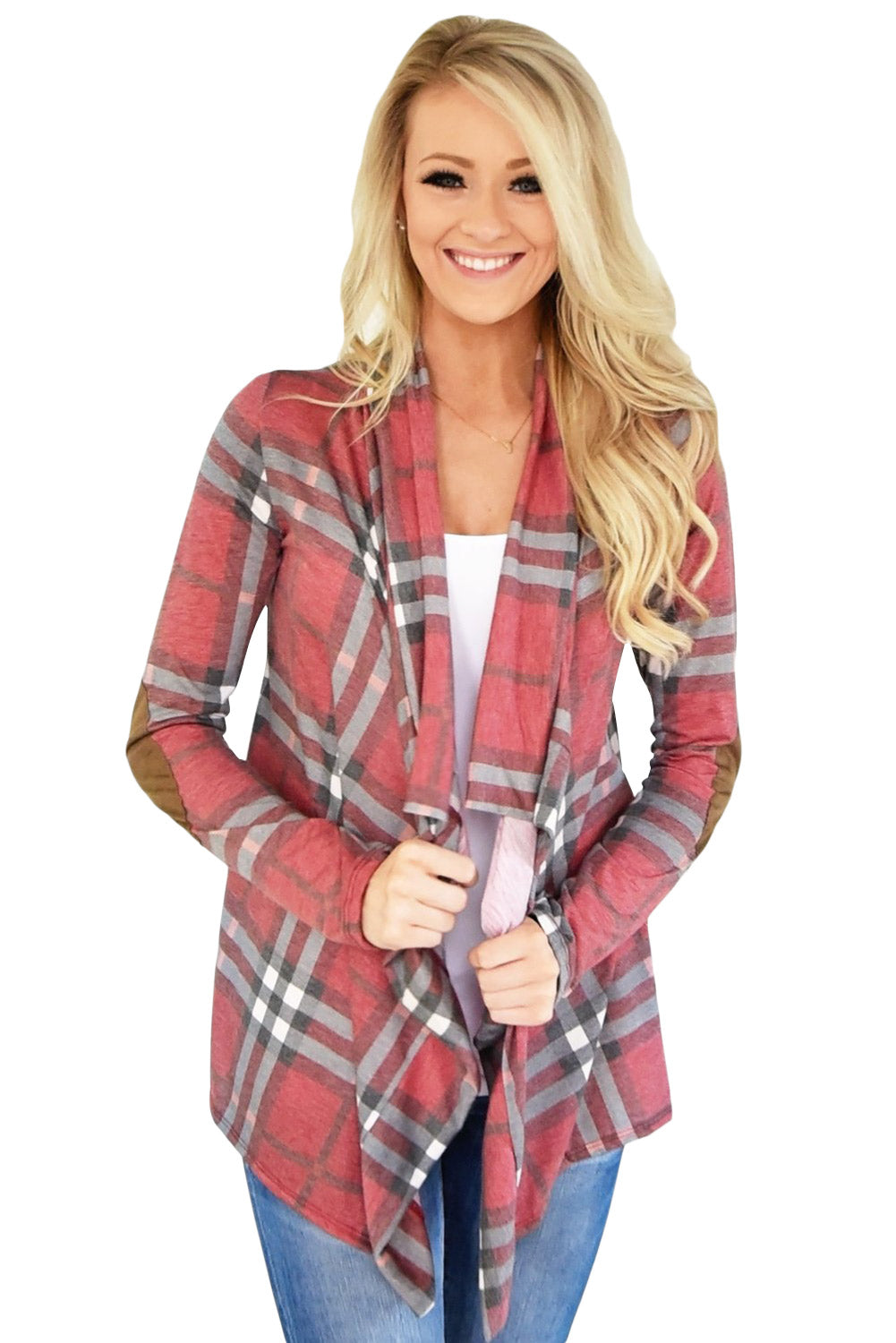 Super Cute Red Fall Party Plaid Long Sleeves Cardigan