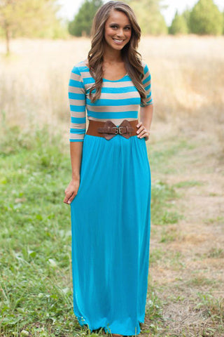 Super Cute Striped Print And Light Blue Jersey long Maxi Dress