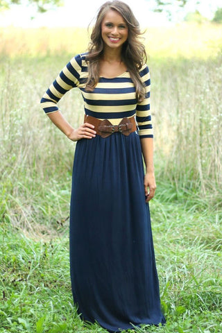 Super Cute Striped Print And Navy Jersey long Maxi Dress