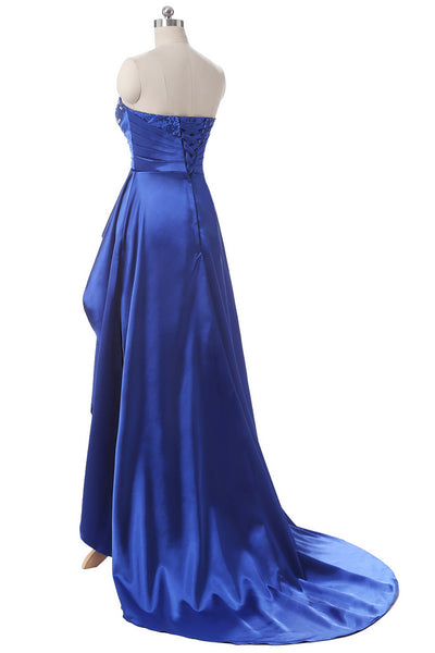 Sweatheart Asymmetrical Evening Long Dovetail Crystal Corset Prom Dress