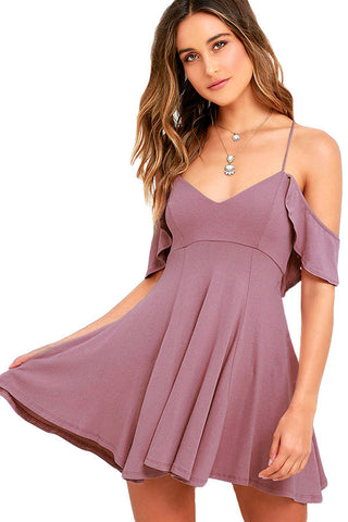 Sweet Adorable Purple Backless Skater Her Flared Dress
