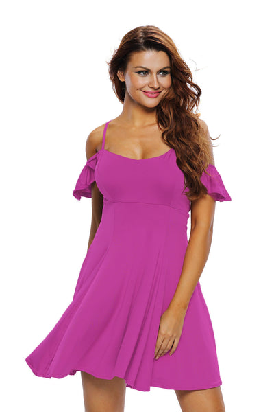 Sweet Adorable Dark Purple Backless Skater Her Flared Dress