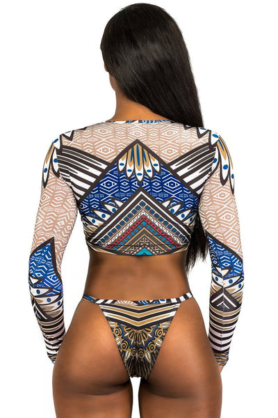 Swim Fashion Her Geometric African Print Long Sleeve Thong Swimsuit