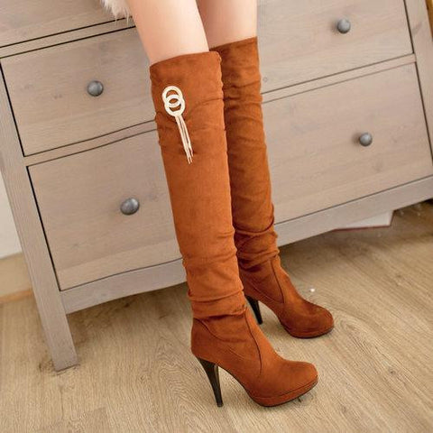 "Thin High Heel Shoes Slip On Metal Decoration Over The Knee Boots  ""Mod Series"""