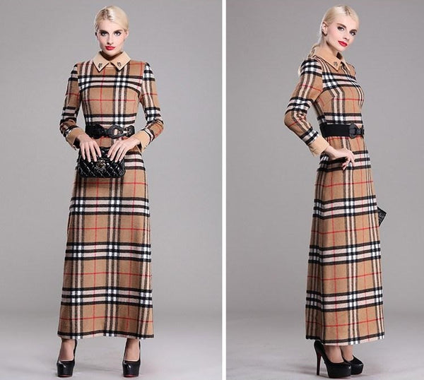 """Trendy Series""   Long-Sleeve European Tartan Pattern Print Ankle-Length Ladies' Long Outwear Dress"