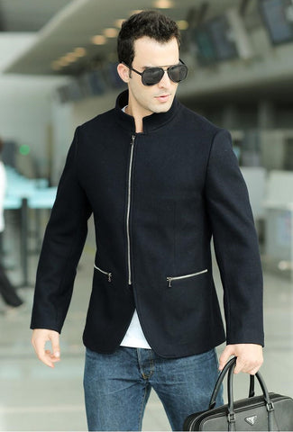 """Trendy Series"" Stand Up Collar Long Sleeve  Wool Zipper Fashion Coat"