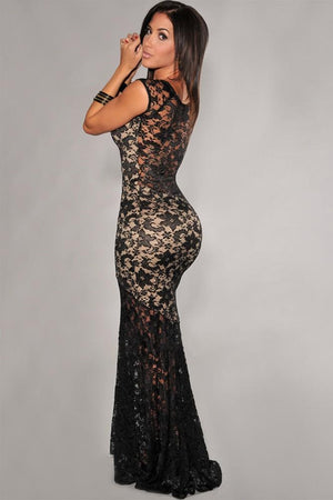 "Two-Toned Lined Prom Mermaid Dress Party Evening ""Elegant Series"" Long Lace Evening Gown"