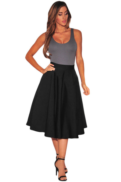 Tailored To Perfection Stylish Black Flared A-Line Her Midi Skirt