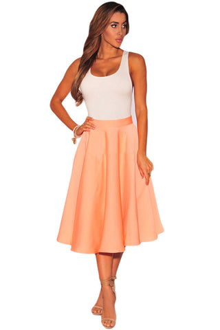 Tailored To Perfection Stylish Orange Flared A-Line Her Midi Skirt