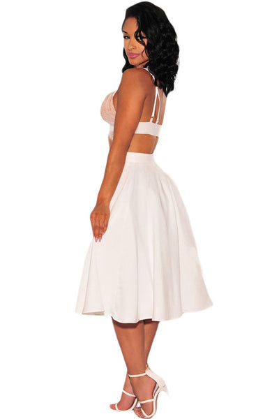 Tailored To Perfection Stylish White Flared A-Line Her Midi Skirt