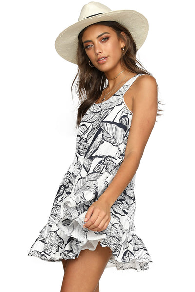 Tank Style Her Fashion Sky Blue Leaf Pattern Ruffled Summer Boho Dress