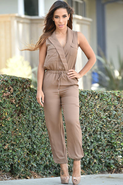 Chiffon Taupe Jumpsuit With Sexy Sleeveless V Neck Suite