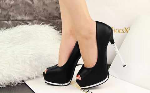 Thin Black High Heels Platform Pumps Open peep Toe High Heels Dress Shoes For Women