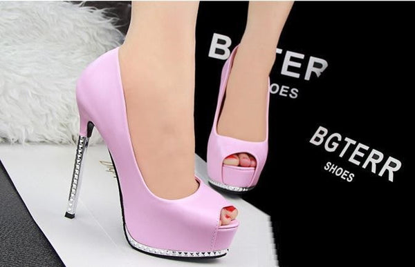 Thin Pink High Heels Platform Pumps Open peep Toe High Heels Dress Shoes For Women