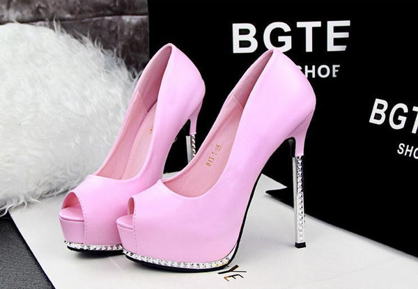 2f6708eea64 Thin Pink High Heels Platform Pumps Open peep Toe High Heels Dress Shoes  For Women