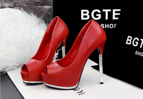 f955dee811d Thin Red High Heels Platform Pumps Open peep Toe High Heels Dress Shoes For  Women