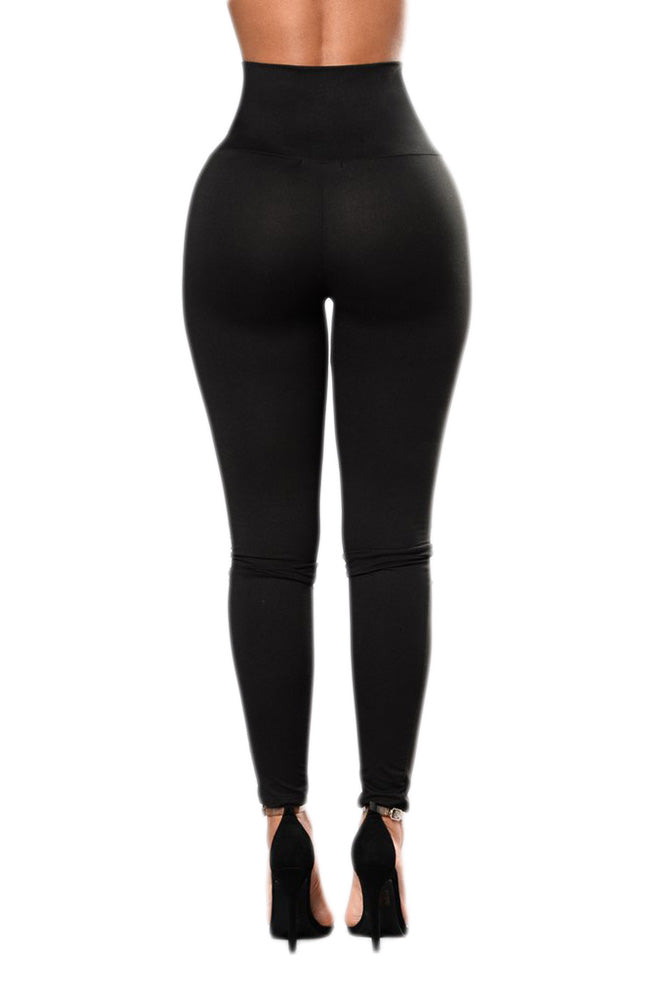 Tight Fitting Black Lace-up High Waist Cincher Her Fashion Leggings