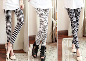 "Tight Pencil Skinny Stretchy Leggings Mix Print ""Simple Lady Series"""