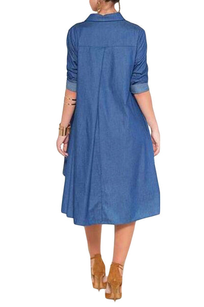 Total Elegance! Long Sleeved Her Trendy Denim Midi Dress