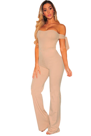 Trendy Beige Off Shoulder Tie Knot Her Fashion Strapless Jumpsuit