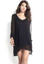 Trendy Black Chiffon Leisure Jersey Her Mini Dress
