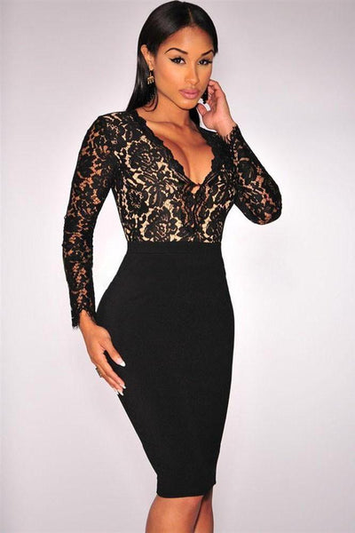 Trendy Black Lace Nude Illusion Long Sleeves Midi Dress