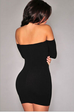 Trendy Black Off-The-Shoulder Long Sleeves Dress
