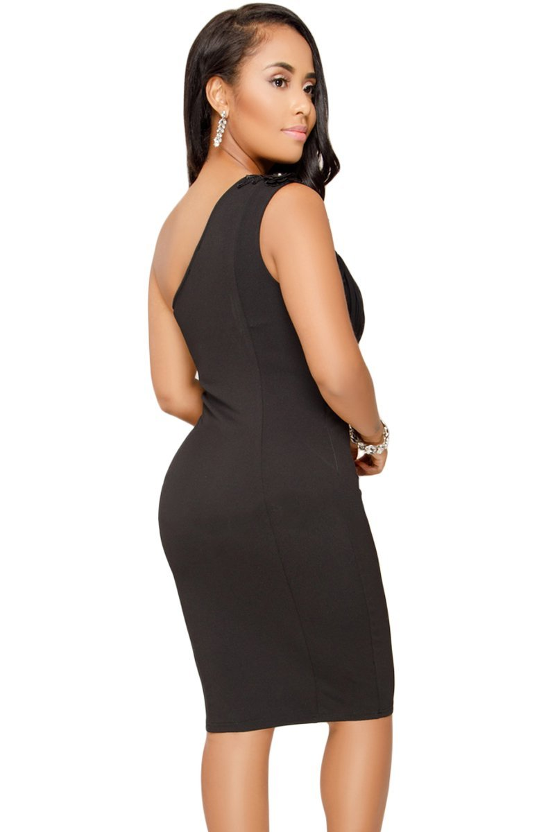 Trendy Black One Shoulder Her Fashion Embroidered Cocktail Midi Dress