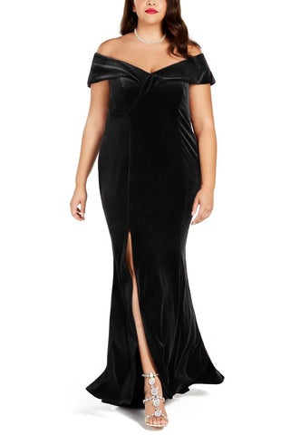 Trendy Black Plus Size Her Fashion Off-The-Shoulder Velvet Party Gown