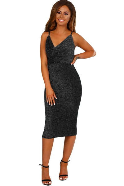 Trendy Black Stretchy Glitter Cowl Neck Her Fashion Bodycon Midi Dress