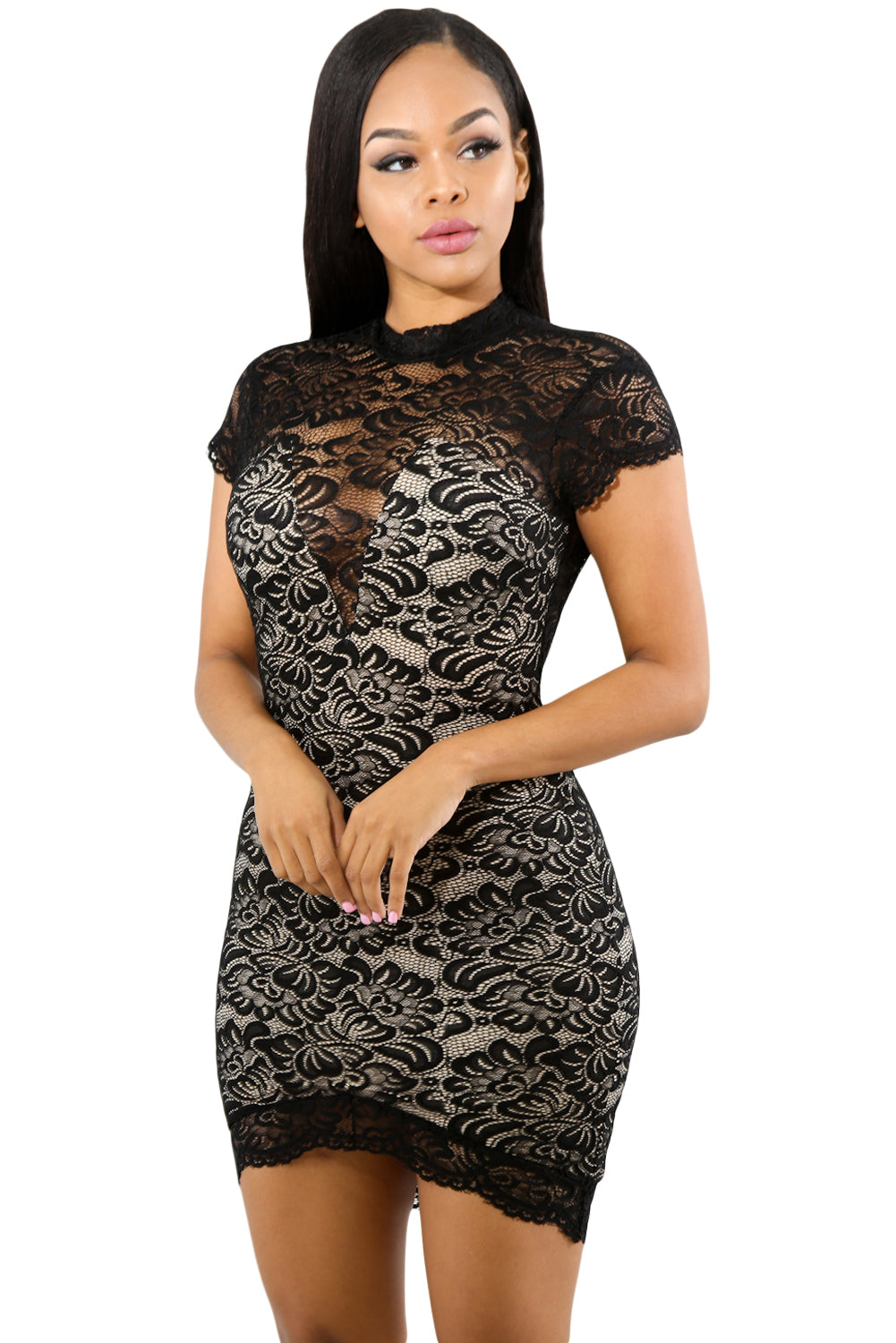 Trendy Black Sweet V-Lace Short Sleeve Her Fashion Bodycon Mini Dress