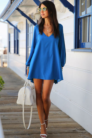 Trendy Blue Chiffon Leisure Jersey Her Mini Dress