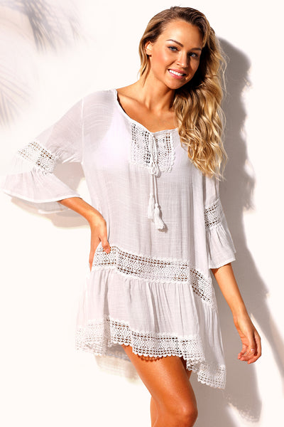 Trendy Cover-Ups Her Fashion White Loose Beachwear Kaftan