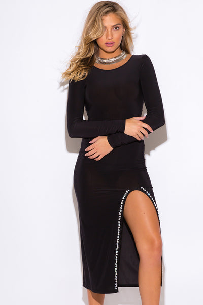 Trendy Embellished Slit Black Party Evening Dress