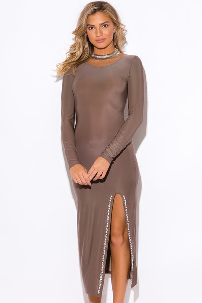 Trendy Embellished Slit Mocha Party Evening Dress