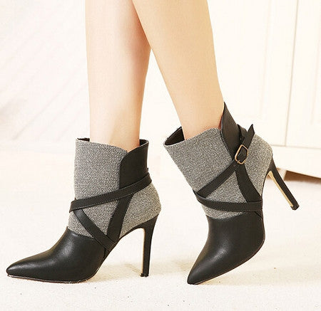 Trendy Fashion Color Match Cusp Toe Ankle Boots