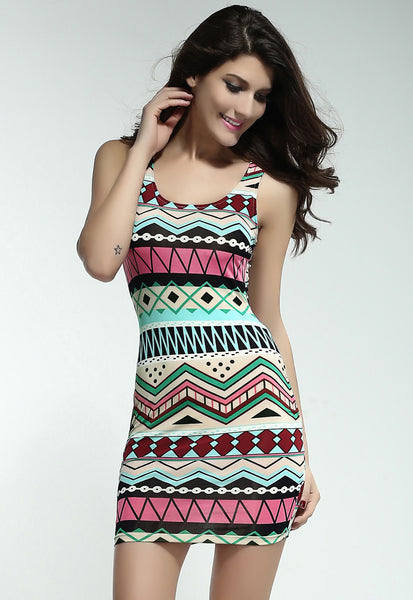 Trendy Form-Fitting Stretch Multi Color Geometric-Pattern Mini Dress