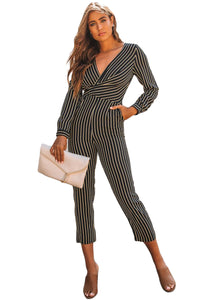 Trendy Her Fashion Black Striped Wrap V Neck Long Sleeve Jumpsuit