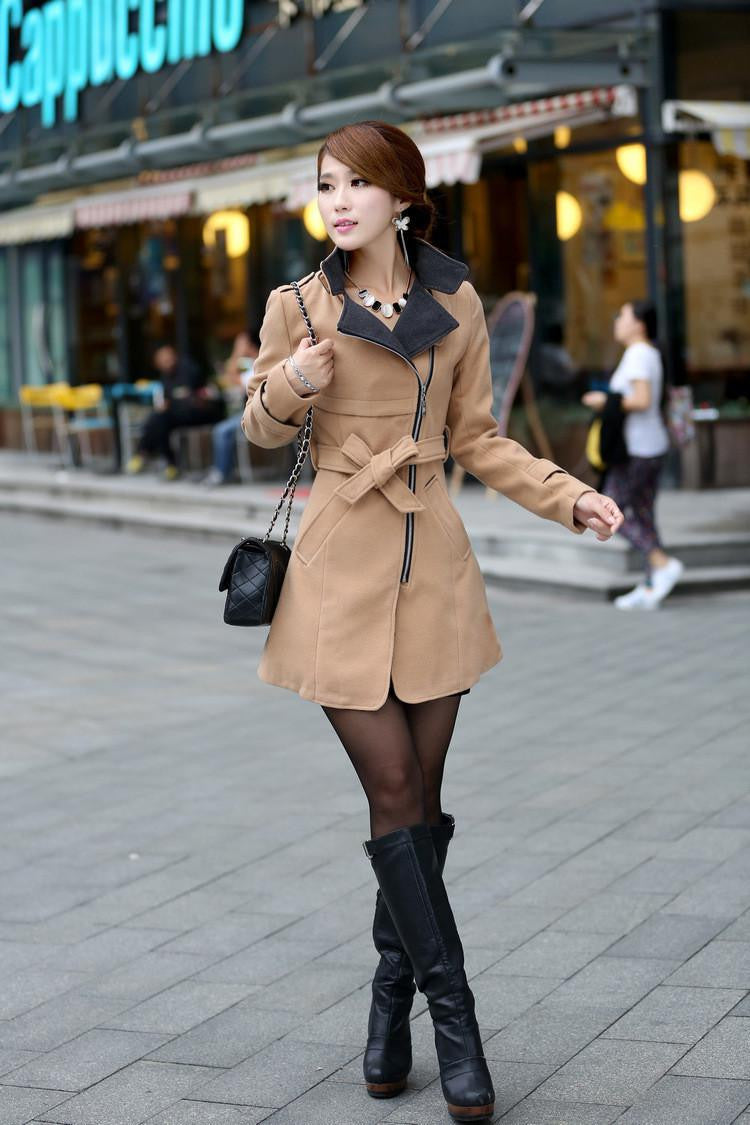 HerFashion Trendy Style Lapel Neck Women Winter Long Wool Coat Outerwear