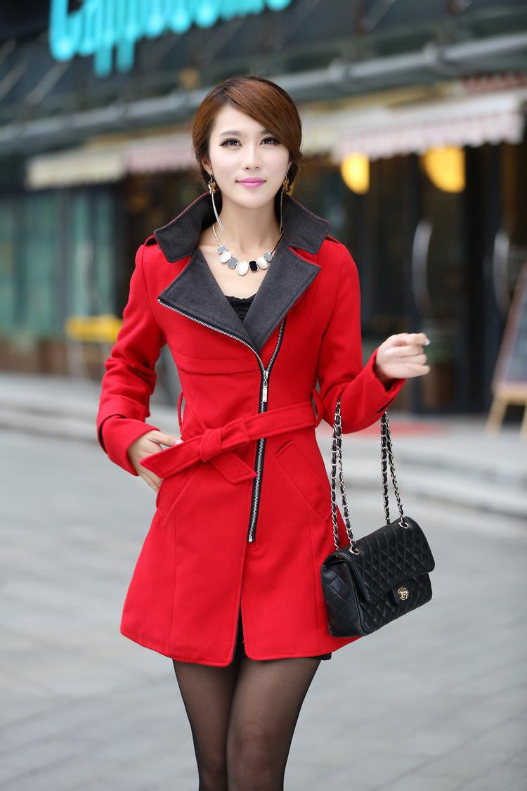 HerFashion Trendy Style Lapel Neck Red Women Winter Long Wool Coat Outerwear