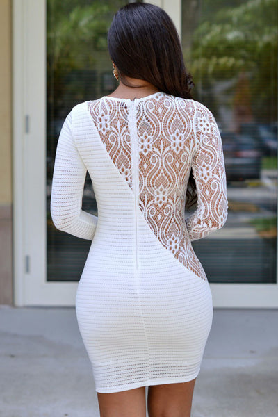 Trendy Long Sleeves White Sheer Lace Mini Dress
