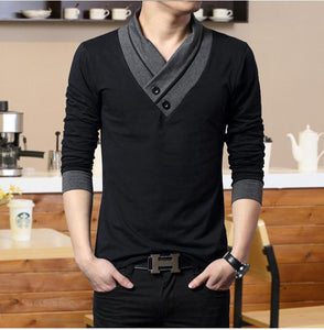 Trendy Mens's Casual Slim Fit Long Sleeve T-shirt , Lightweight, V-Neck with Cross Button