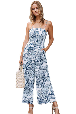 Trendy Navy Leaf Vein Print White Wide Leg Her Fashion Jumpsuit