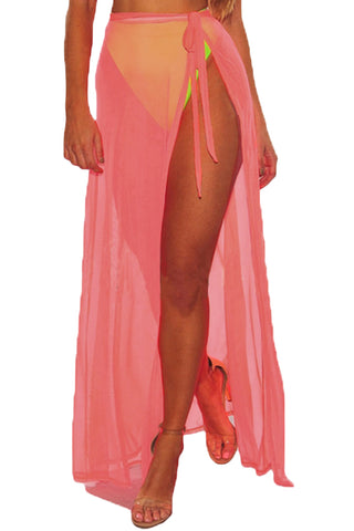 Trendy Neon Pink Mesh Slit Cover Up Belted Her Fashion Beach Skirt