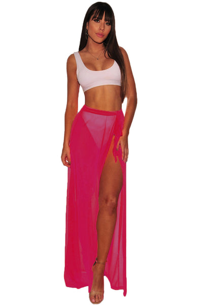 Trendy Black Mesh Slit Cover Up Belted Her Fashion Beach Skirt